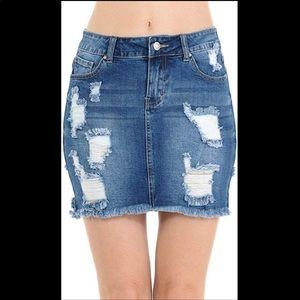 Wax jeans distressed denim skirt